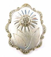 Vintage Marcasite Set Daisy Flower Brooch By Sphinx.